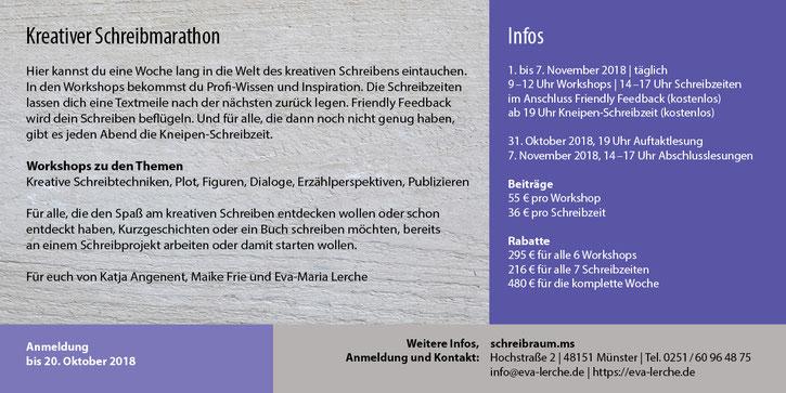 """Image Design. Flyer """" kreativer Schreibmarathon"""" für Dr. Eva-Maria Lerche. Funkenflug Design Münster."""