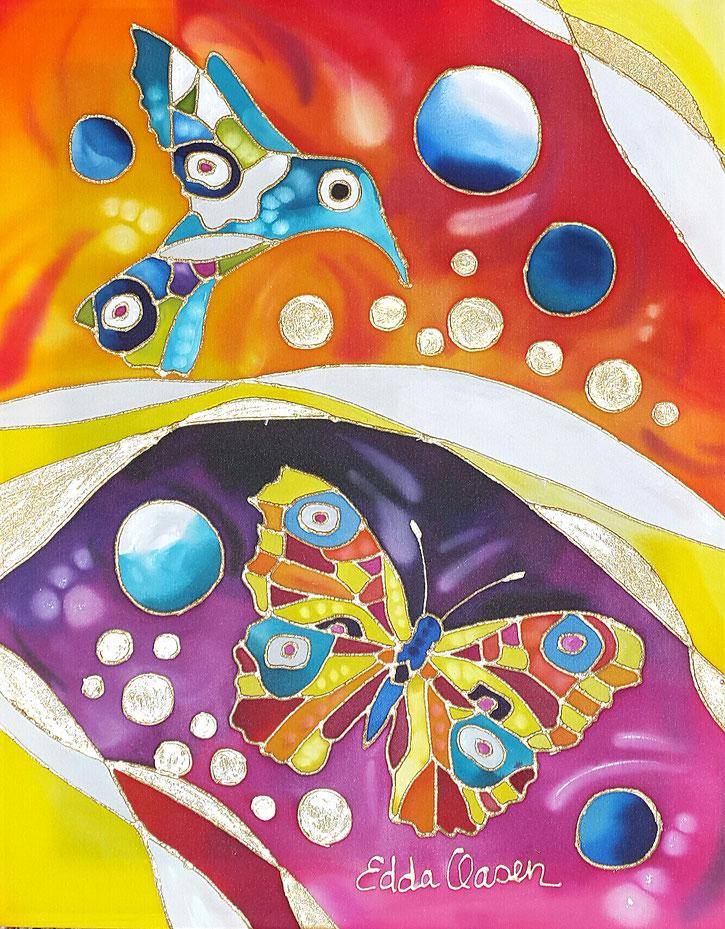 """Edda Clasen, """"Frühling"""", 50 x 40 cm, 100 % silk"""