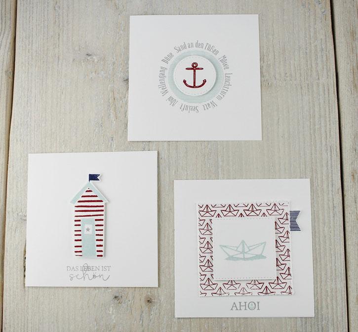 Kartenbündel, maritim, Grußkarten mit Umschlag, Anker, Schiff