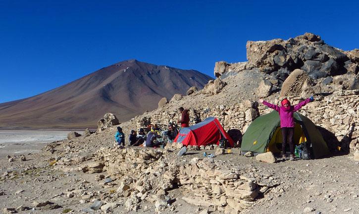Zeltlager an der Laguna Blanca.
