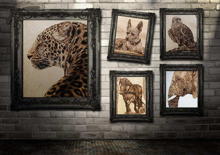 Tierportraits in Brandmalerei