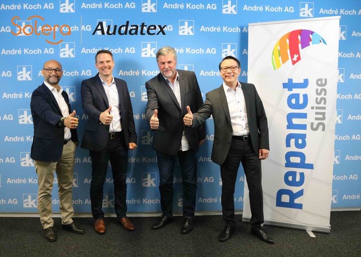 Enzo Santarsiero (CEO André Koch AG), Marcel Schradt (Managing Director Audatex Schweiz), Robert Hasler (Head of Business Delivery Audatex Schweiz), Richard Schöller (Business Development Manager André Koch AG).