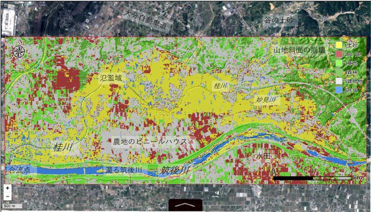 図1 空中写真でみた土砂の分布