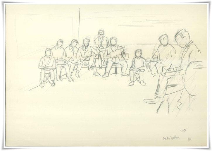 Bild Blei: Kunstmaler Luksch mit Studenten Ingenieurschule für Bauwesen in Hamburg