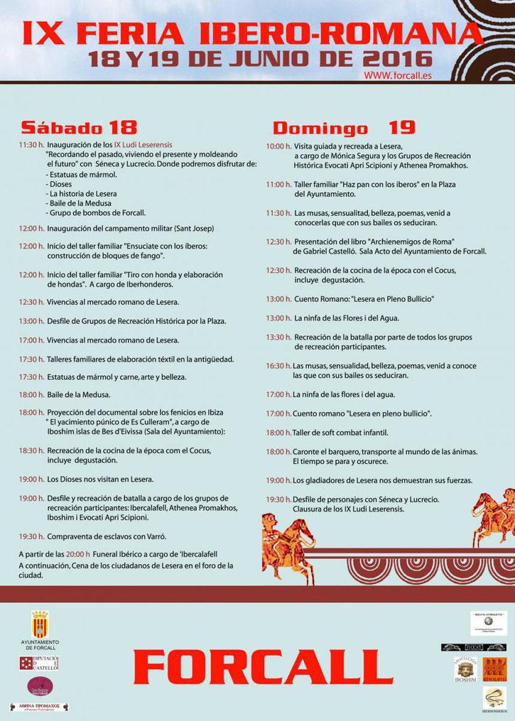 Programa de la Fira Ibero-Romana en Forcall 2016
