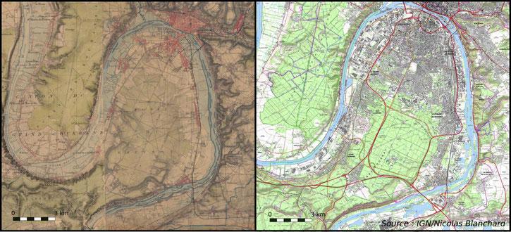 Fig 2. Les forêts de la Londe et du Rouvray apparaissent sur la carte d'Etat major réalisée vers (1818-1866)