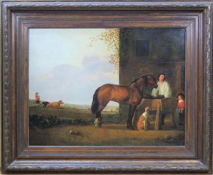 te_koop_een_schilderij_van_abraham_van_calraet_1642-1722_een_ruiter_met_zijn_paard_bij_een_rustplaats