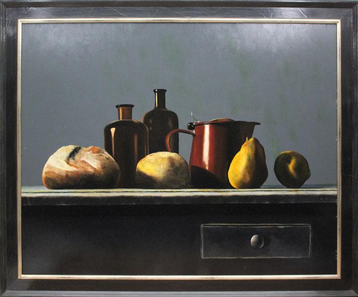 te_koop_aangeboden_een_stilleven_met_flessen_melkkan_brood_en_fruit_van_de_fijnschilder_cornelis_de_koning_1957