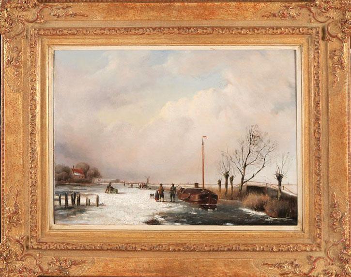 te_koop_aangeboden_een_wintergezicht_van_de_nederlandse_kunstschilder_jacobus_freudenberg_1818-1873_hollandse_romantiek_19e_eeuw