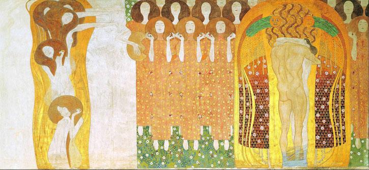 """Gustav Klimt, """"Inno alla gioia"""", parte del """"Fregio di Beethoven"""" (1902)"""