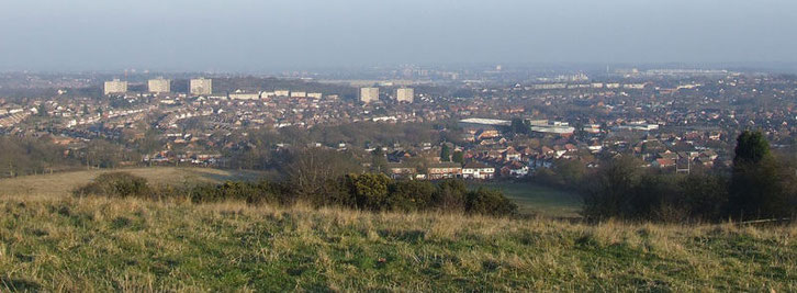 View from the Lickey Hills: Rubery in the centre mid-ground; Rednal to the right; the City Centre on the horizon. Photograph by Oliver Benson on flickr reused under Creative Commons Licence Attribution-Non-Commercial-Share Alike
