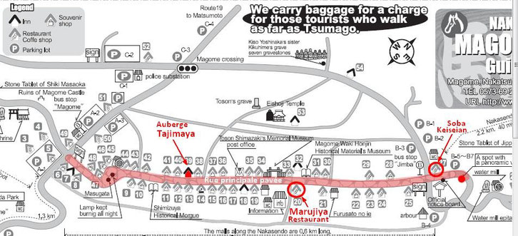 Plan de Magome : la rue principale  (Cliquer pour agrandir)