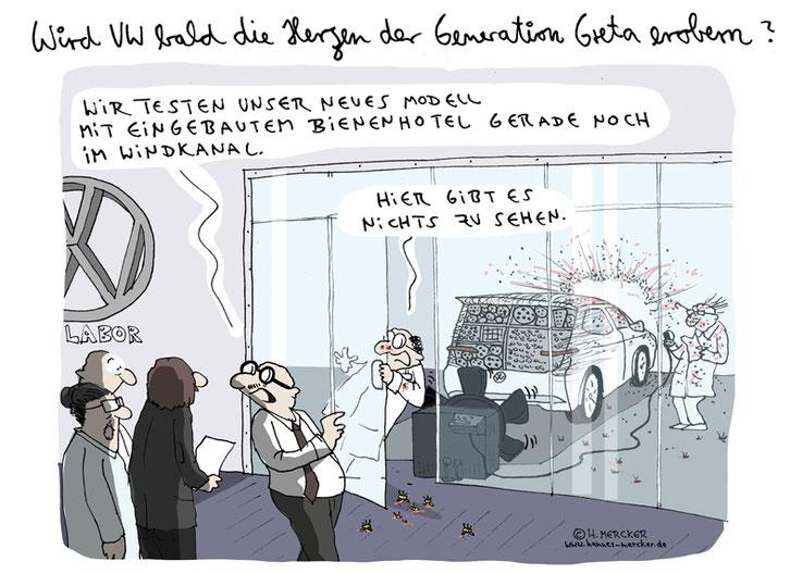 Tagesaktueller Cartoon von H. Mercker zum neuen Öko-Image von VW.
