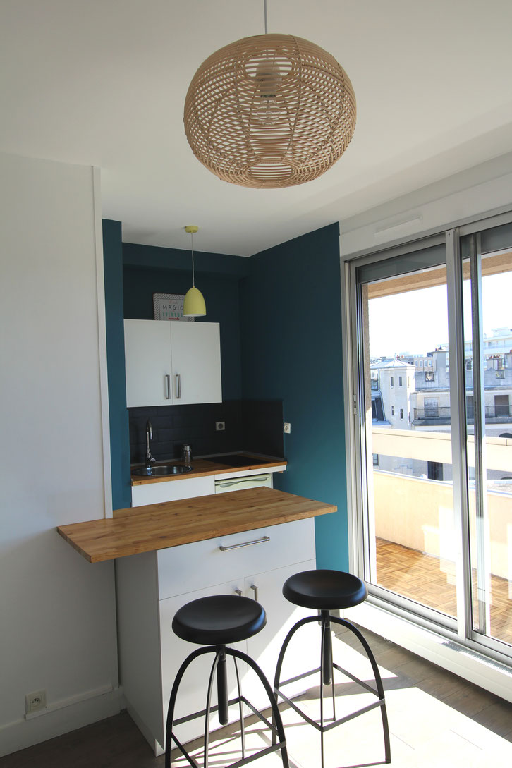 studio scandinave bleu goa, cuisine Ikea