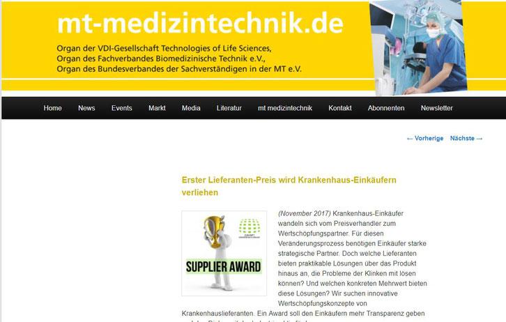 Portal: www.mt-medizintechnik.de, Herausgeber: TÜV Media GmbH und TÜV Rheinland Group