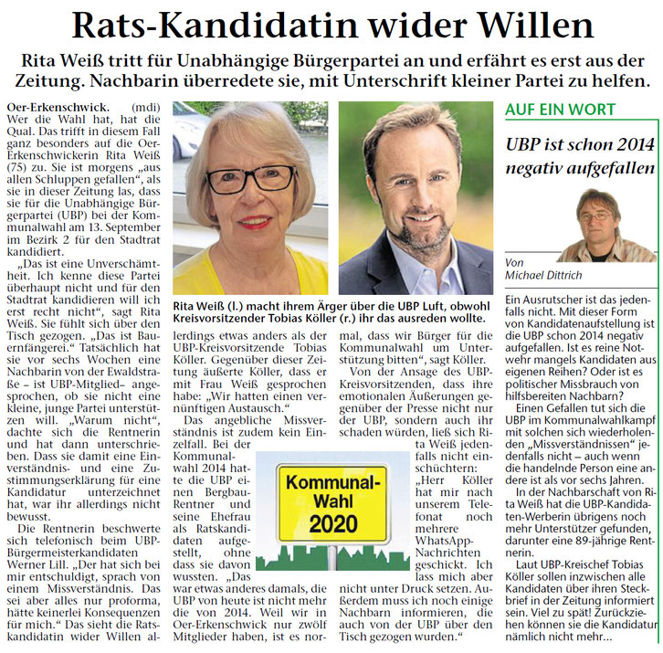 Artikel in der STIMBERG ZEITUNG am 20. August 2020: Rats-Kandidatin wider Willen