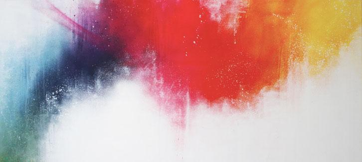 Grand tableau abstrait, street art, abordable,  grand tableau horizontal, tableau coloré , grand format, galerie d'art cote d'azur, saint paul de vence, galerie d'art, art gallery , acheter un tableau