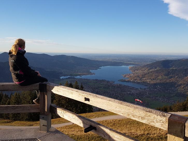 Auf dem Wallberg mit Sicht auf den Tegernsee