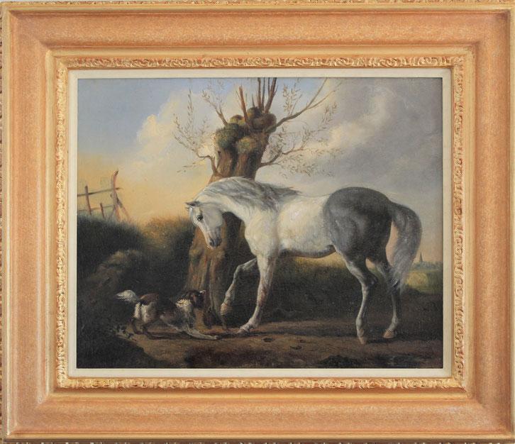 te_koop_aangeboden_een_schilderij_met_een_paard_en_hond_van_de_nederlandse_kunstschilder_karel_frederik_bombled_1822-1902_hollandse_romantiek