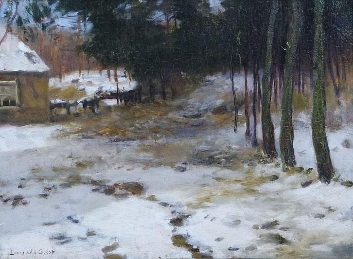 te_koop_aangeboden_een_winter_landschaps_schilderij_van_de_kunstschilder_louis_willem_van_soest_1867-1948_haagse_school