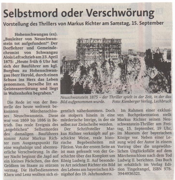 """Vorankündigung der Buchpräsentation des Neuschwanstein Thrillers """"Ins Herz"""" im Extra der Allgäuer Zeitung"""