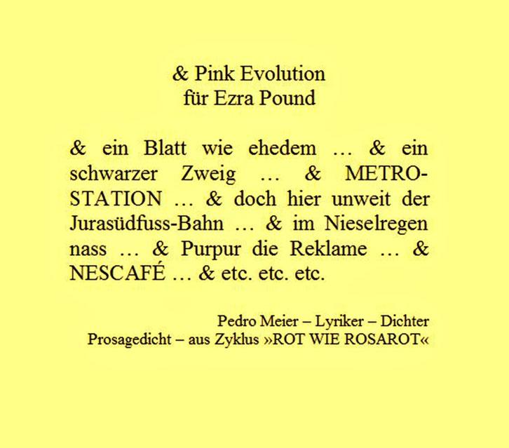 Pedro Meier – für Ezra Pound – Prosagedicht – Pink Evolution – aus Zyklus »ROT WIE ROSAROT« by © Pedro Meier Lyriker, Dichter, Maler, Schriftsteller. Niederbipp, Kunsthalle Olten, Art Bangkok BACC. SIKART Zürich, Visarte, ProLitteris. www.Autorenwelt.de