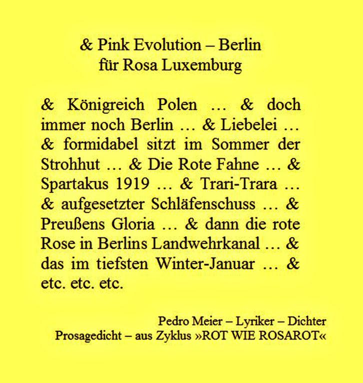 Pedro Meier – für Rosa Luxemburg Berlin – Prosagedicht – Pink Evolution Zyklus »ROT WIE ROSAROT« by © Pedro Meier Lyriker, Dichter, Maler, Schriftsteller. Niederbipp, Kunsthalle Olten, Bangkok BACC. SIKART Zürich, Visarte, ProLitteris. www.Autorenwelt.de