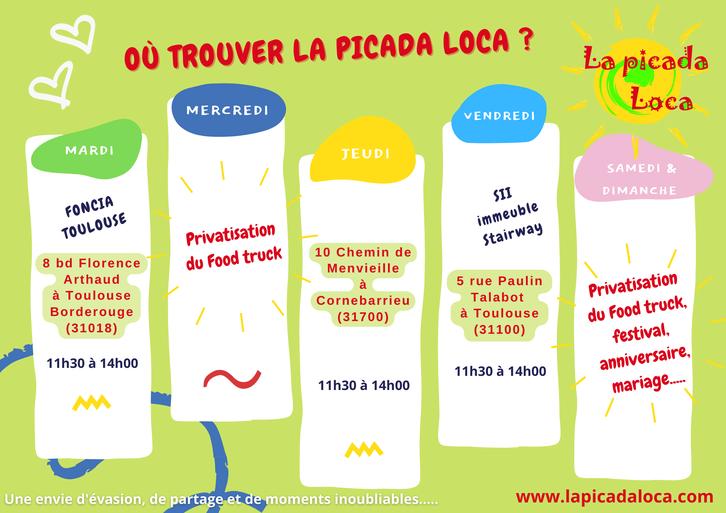 Emplacements hebdomadaires du Food truck de La picada loca : Muret, Carbonne, Labastidette, Portet-sur-Garonne