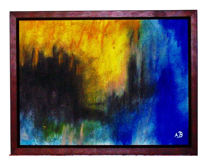 Abstrakte Landschaftsmalerei-Pastelmalerei-Landschaft-Sonne-Licht-Abstraktion-Moderne Malerei-Abstrakt-Pastellbild-Pastellgemälde-Landschaftsbild