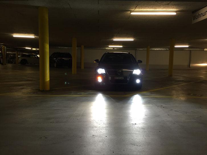 VW Passat B6  Umbau auf  LED Swiss Made by www.carlights.ch Nebelscheinwerfer, Standlicht, Kurvenlicht, Innen-Licht, Umfeldbeleuchtung im Seitenspiegel, Kennzeichen-Licht