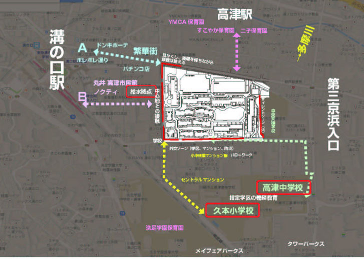 近隣とパークシティの関係を考えるために作成した基礎MAP。