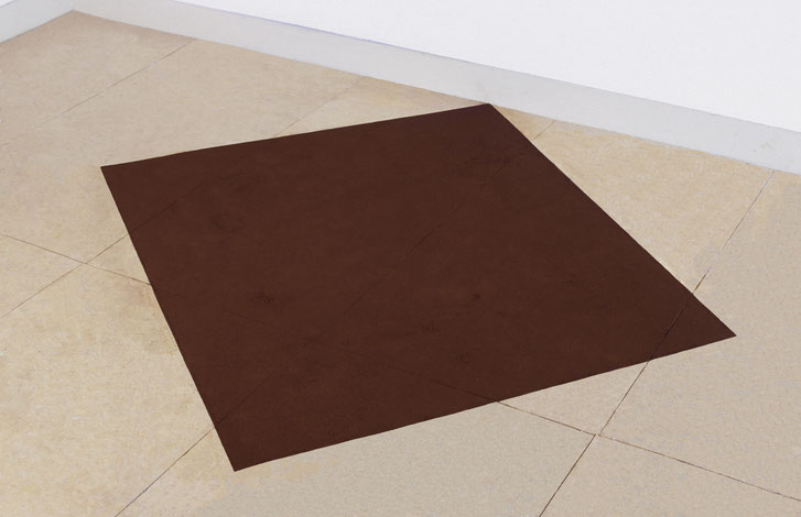 Matthieu van Riel. Vloerobject. Z.T. 140x160cm pigment op vloer vloerobject 2006