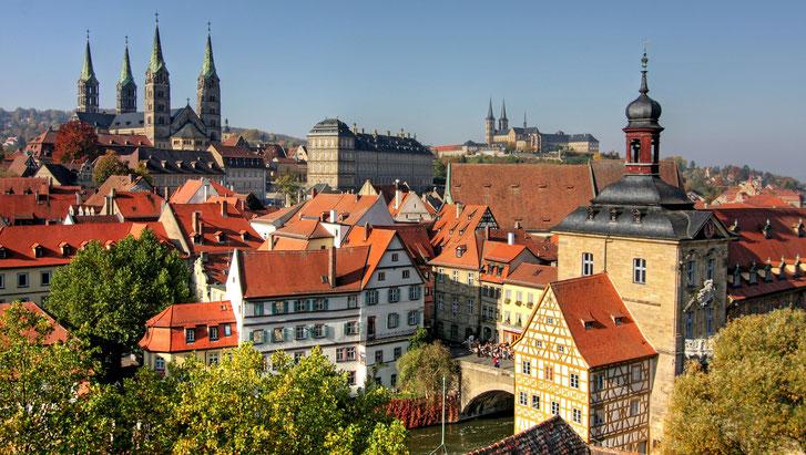 Blick von oben auf Bamberg; Detektive in Bamberg, Privatdetektei Bamberg