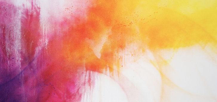 Tableau abstrait coloré, street art pas cher, peinture abstraite, tableau, tons orangés, tons roses, tons rouges, akirovitch, grand tableau décoratif, grand tableau horizontal, street art
