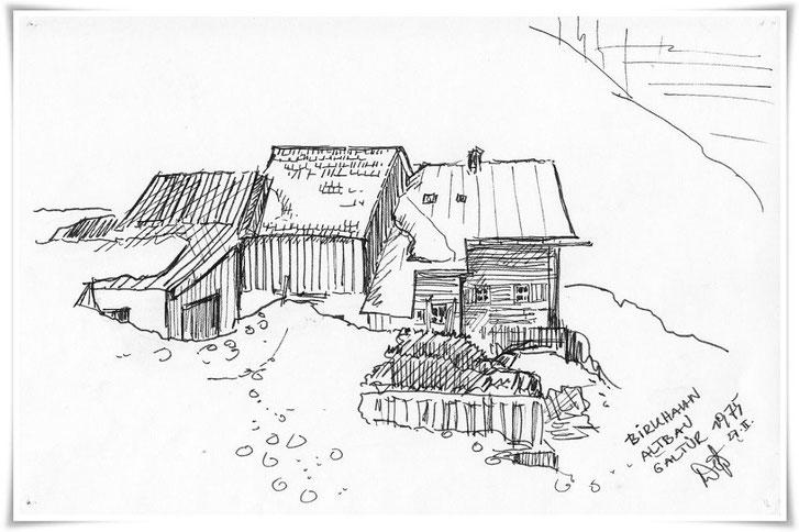 Bild Zeichnung: Haus Birkhahn in Galtür Tirol