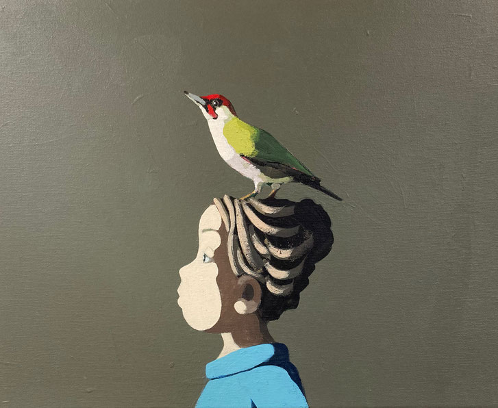 the green woodpecker - Acryl auf Leinwand, 40x50cm, 2021   verkauft