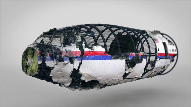Reconstruction MH17 contains only 30 % of wreckage. Still from video DSB.