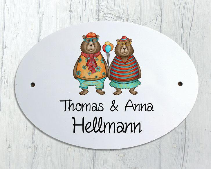 Türschild Bärenpaar Geschenk Umzug Hochzeit