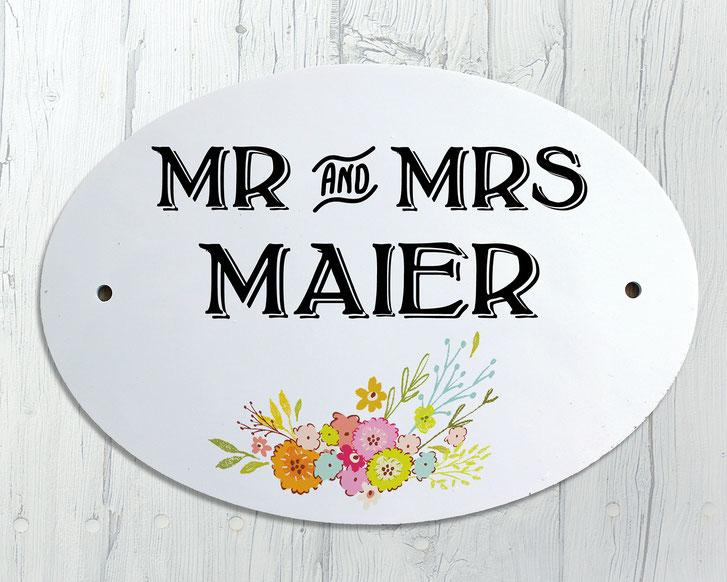 Türschild Blumen Mr. & Mrs. Geschenk Hochzeit