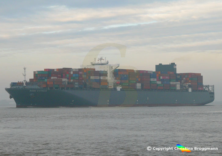 Containerschiff Rome Express, ex MSC Filomena, mit nachgerüsteten Srubber