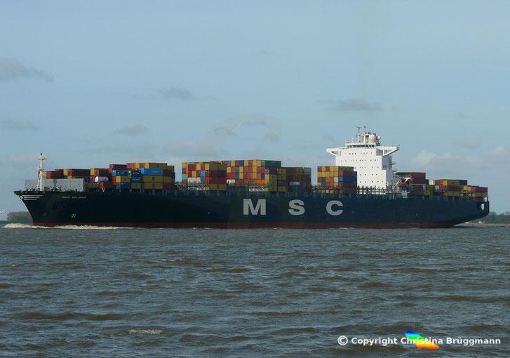 Containerschiff MSC BILBAO, auf der Elbe 05.04.2017