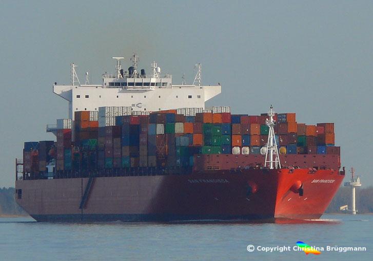Containerschiff SAN FRANCISCA auf der  Elbe 27.03.2017