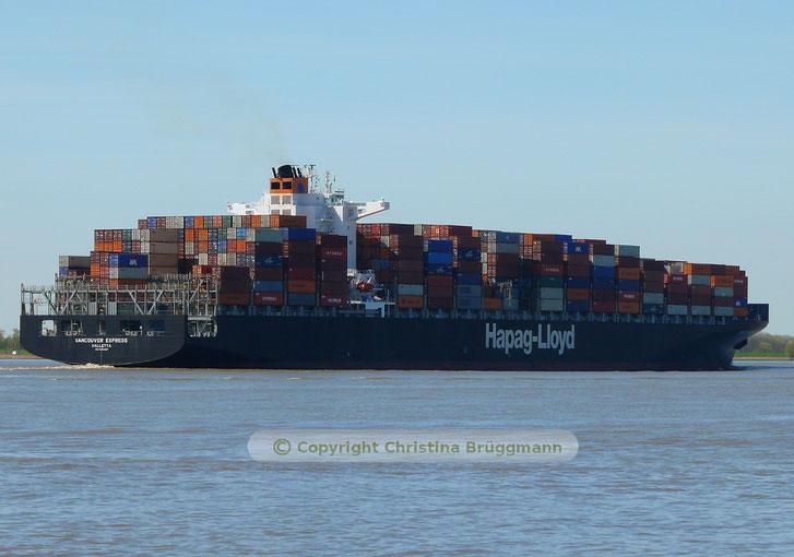 Hapag-Loyd Containerschiff VANCOUVER EXPRESS auf der Elbe 05.05.2016