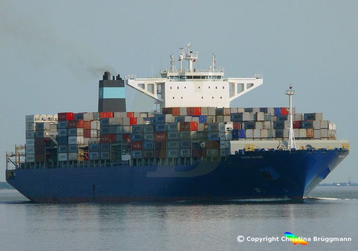 Containerschiff MAERSK SALTORO, auf der Elbe 20.07.2018