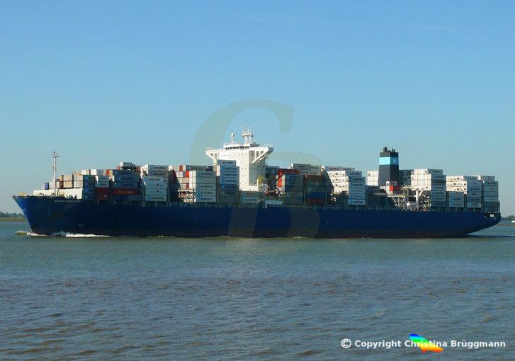 Containerschiff MAERSK STADELHORN, auf der Elbe 18.09.2018