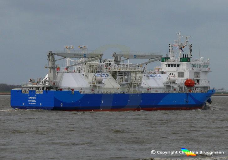 LNG Bunkerschiff KAIROS zur Betankung in Brunsbüttel