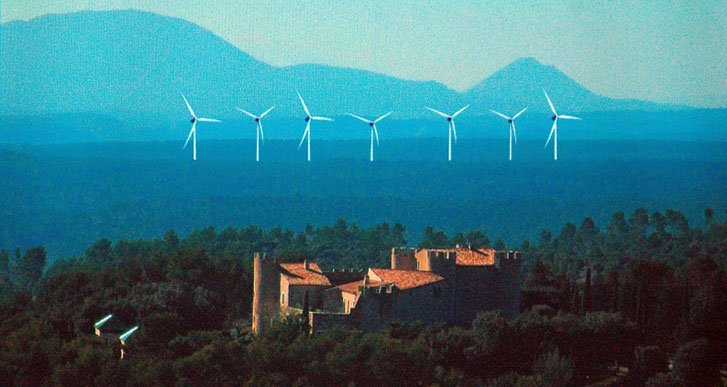 photomontage de l'APPHV imaginons des éoliennes entre les Bessillons et le domaine de Taurenne