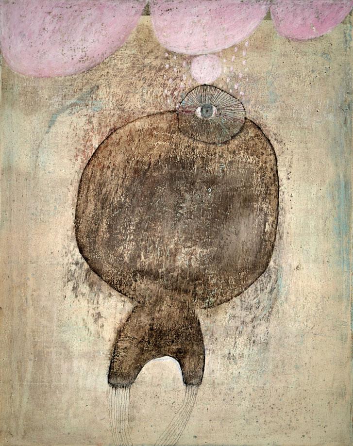 Acryl, Ölkreide, Tusche, Gips, Asche... auf Leinwand, 50x40 cm, 2017