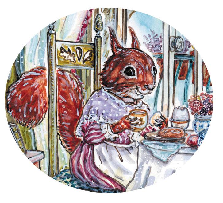Illustration Eichhörnchen Ella © Caroline Ronnefeldt für Annette Betz Verlag