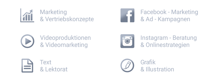 Marketingkonzepte, Vertriebskonzepte, Videoproduktionen, Videomarketing, Text, Lektur, Facebook Marketing, Ad-Kampagnen, Instagram Beratung, Onlinestrategien, Grafik, Illustration